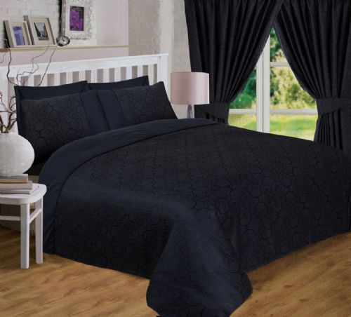 BLACK COLOUR JACQUARD SCROLL FLORAL DUVET QUILT COVER LUXURY BEDDING OR CURTAINS